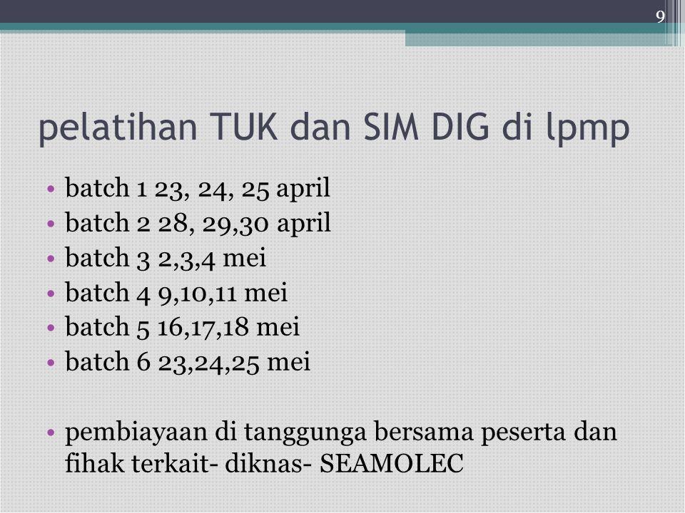pelatihan TUK dan SIM DIG di lpmp •batch 1 23, 24, 25 april •batch 2 28, 29,30 april •batch 3 2,3,4 mei •batch 4 9,10,11 mei •batch 5 16,17,18 mei •ba