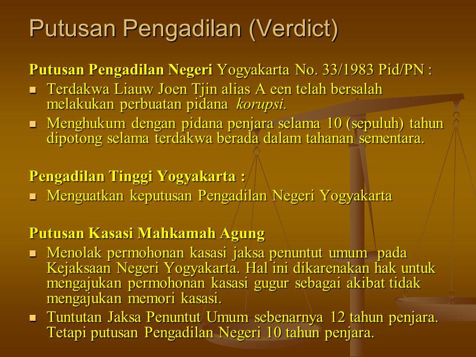 Putusan Pengadilan (Verdict) Putusan Pengadilan Negeri Yogyakarta No. 33/1983 Pid/PN :  Terdakwa Liauw Joen Tjin alias A een telah bersalah melakukan