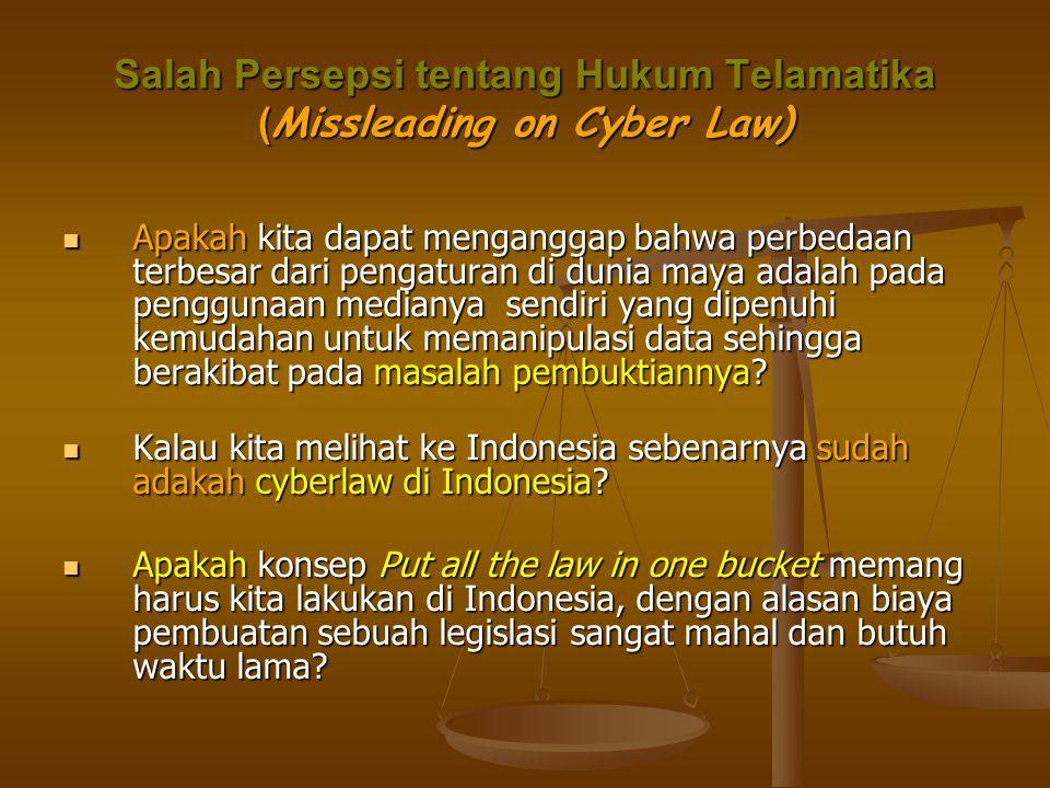 Salah Persepsi tentang Hukum Telamatika ( Missleading on Cyber Law)  Apakah kita dapat menganggap bahwa perbedaan terbesar dari pengaturan di dunia m