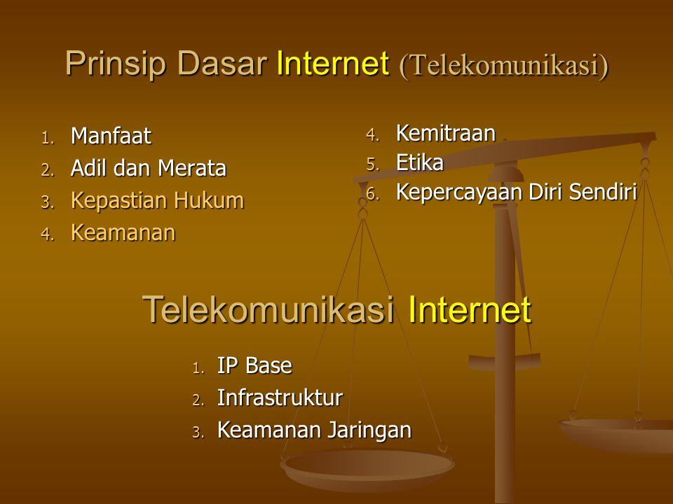 Prinsip Dasar Internet (Telekomunikasi) 1. Manfaat 2. Adil dan Merata 3. Kepastian Hukum 4. Keamanan 4. Kemitraan 5. Etika 6. Kepercayaan Diri Sendiri