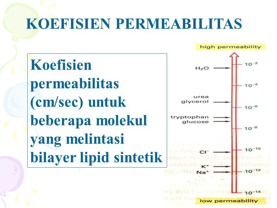 Koefisien permeabilitas (cm/sec) untuk beberapa molekul yang melintasi bilayer lipid sintetik KOEFISIEN PERMEABILITAS