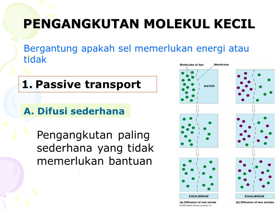 PENGANGKUTAN MOLEKUL KECIL Bergantung apakah sel memerlukan energi atau tidak 1.Passive transport A. Difusi sederhana Pengangkutan paling sederhana ya