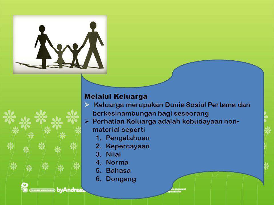 Melalui Keluarga  Keluarga merupakan Dunia Sosial Pertama dan berkesinambungan bagi seseorang  Perhatian Keluarga adalah kebudayaan non- material se