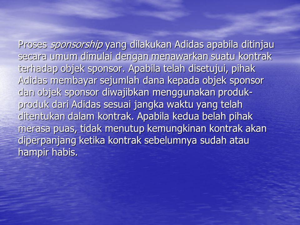 Proses sponsorship yang dilakukan Adidas apabila ditinjau secara umum dimulai dengan menawarkan suatu kontrak terhadap objek sponsor.