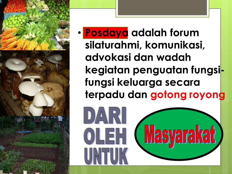 • Posdaya adalah forum silaturahmi, komunikasi, advokasi dan wadah kegiatan penguatan fungsi- fungsi keluarga secara terpadu dan gotong royong