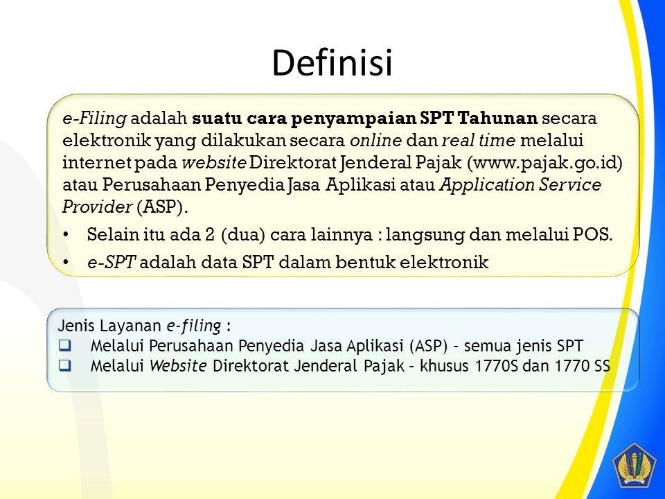 Definisi e-Filing adalah suatu cara penyampaian SPT Tahunan secara elektronik yang dilakukan secara online dan real time melalui internet pada website