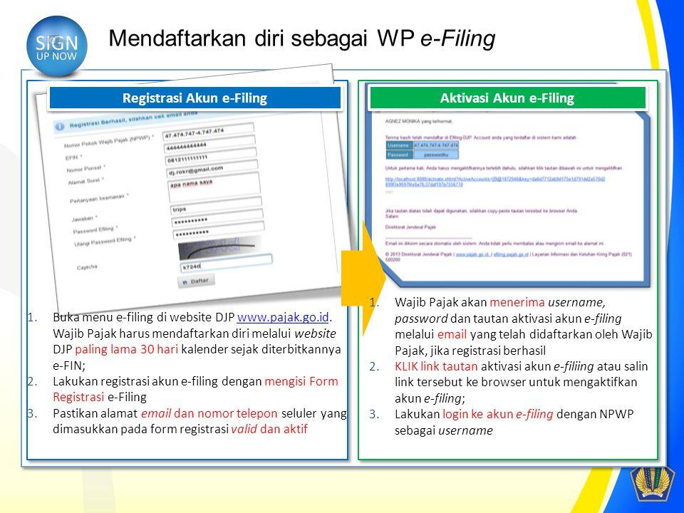 Mendaftarkan diri sebagai WP e-Filing Registrasi Akun e-Filing 1.Buka menu e-filing di website DJP www.pajak.go.id. Wajib Pajak harus mendaftarkan dir