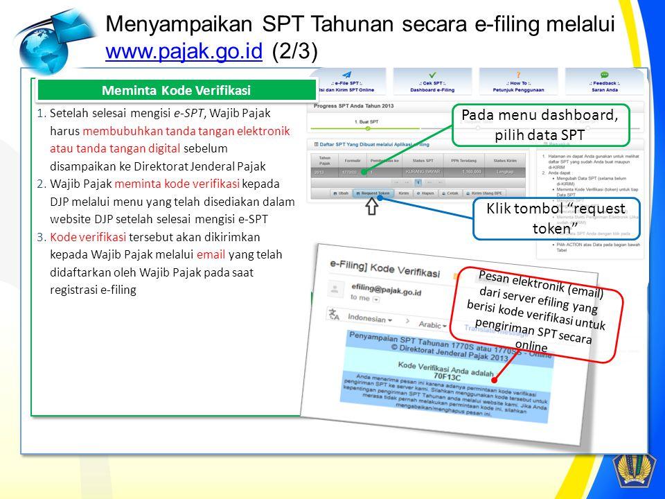 Menyampaikan SPT Tahunan secara e-filing melalui www.pajak.go.id (2/3) www.pajak.go.id 1.Setelah selesai mengisi e-SPT, Wajib Pajak harus membubuhkan