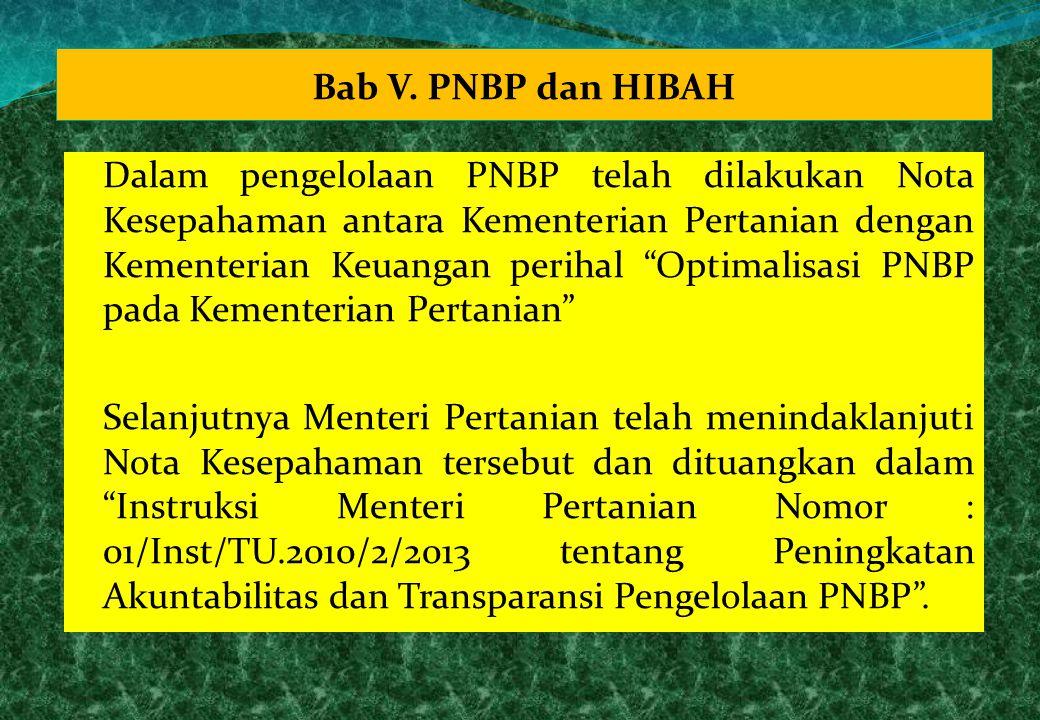 "Bab V. PNBP dan HIBAH Dalam pengelolaan PNBP telah dilakukan Nota Kesepahaman antara Kementerian Pertanian dengan Kementerian Keuangan perihal ""Optima"