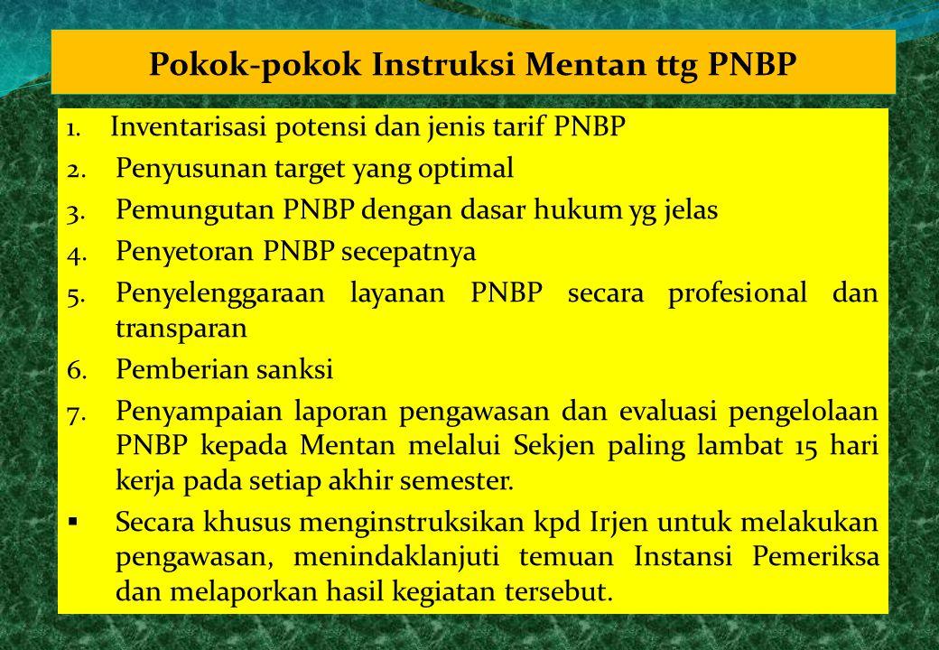 Pokok-pokok Instruksi Mentan ttg PNBP 1. Inventarisasi potensi dan jenis tarif PNBP 2. Penyusunan target yang optimal 3. Pemungutan PNBP dengan dasar