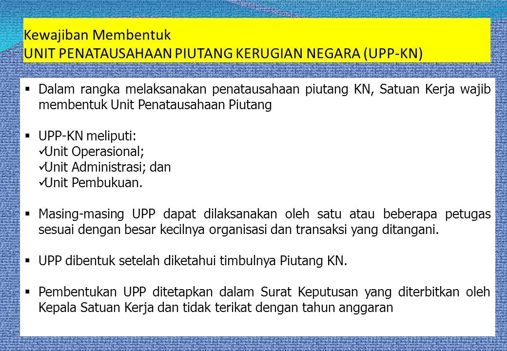  Dalam rangka melaksanakan penatausahaan piutang KN, Satuan Kerja wajib membentuk Unit Penatausahaan Piutang  UPP-KN meliputi:  Unit Operasional; 