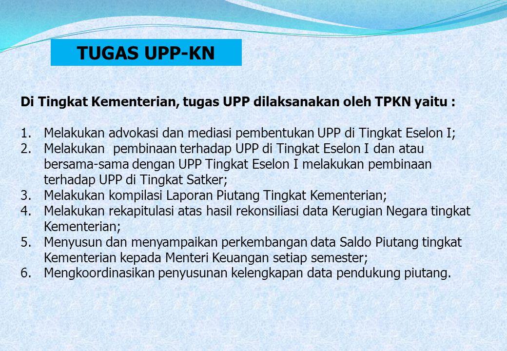 Di Tingkat Kementerian, tugas UPP dilaksanakan oleh TPKN yaitu : 1.Melakukan advokasi dan mediasi pembentukan UPP di Tingkat Eselon I; 2.Melakukan pem