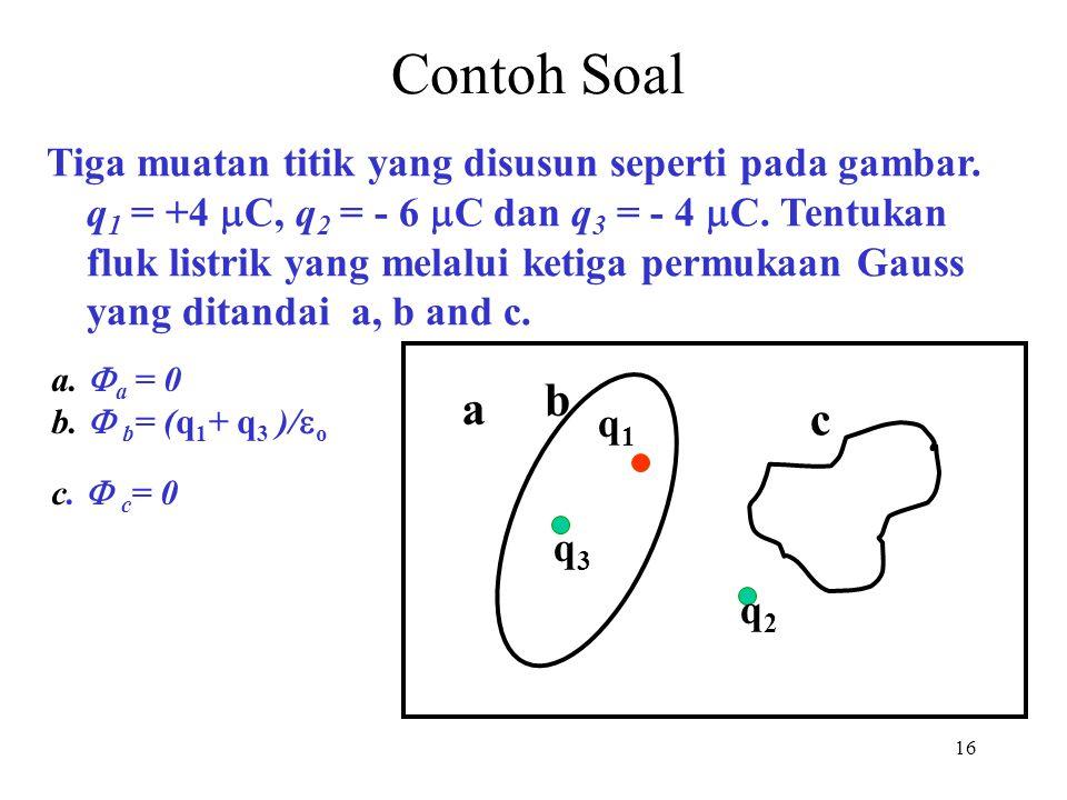 16 Contoh Soal Tiga muatan titik yang disusun seperti pada gambar. q 1 = +4  C, q 2 = - 6  C dan q 3 = - 4  C. Tentukan fluk listrik yang melalui k
