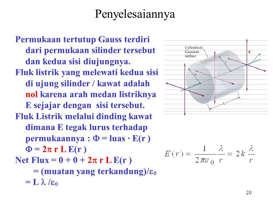 20 Penyelesaiannya Permukaan tertutup Gauss terdiri dari permukaan silinder tersebut dan kedua sisi diujungnya. Fluk listrik yang melewati kedua sisi