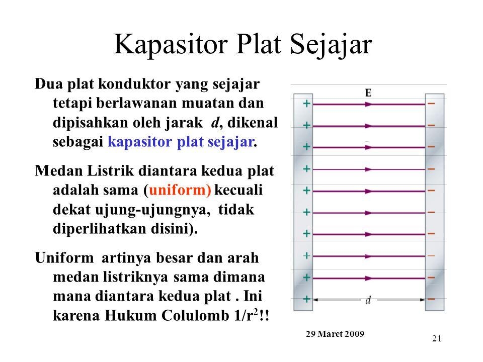 21 Kapasitor Plat Sejajar Dua plat konduktor yang sejajar tetapi berlawanan muatan dan dipisahkan oleh jarak d, dikenal sebagai kapasitor plat sejajar