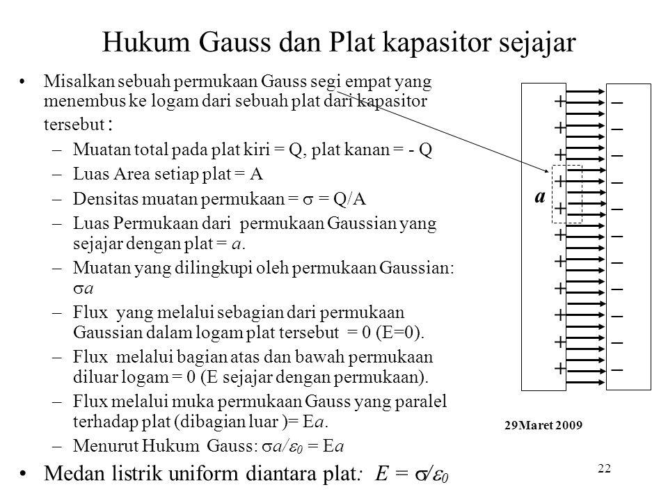 22 Hukum Gauss dan Plat kapasitor sejajar •Misalkan sebuah permukaan Gauss segi empat yang menembus ke logam dari sebuah plat dari kapasitor tersebut