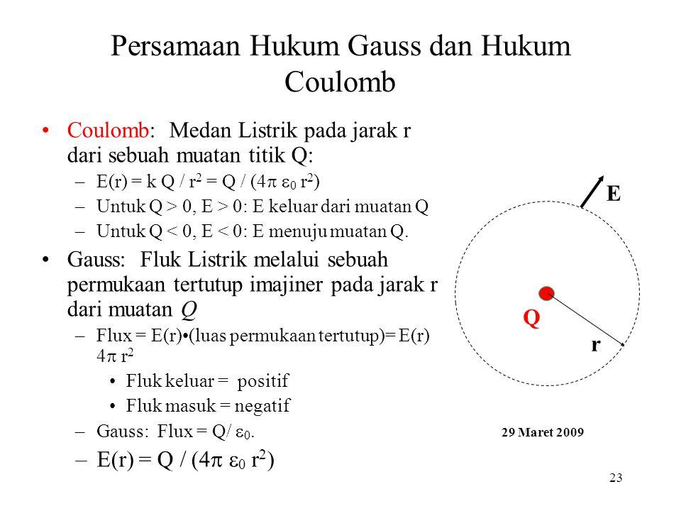 23 Persamaan Hukum Gauss dan Hukum Coulomb •Coulomb: Medan Listrik pada jarak r dari sebuah muatan titik Q: –E(r) = k Q / r 2 = Q / (4  0 r 2 ) –Un