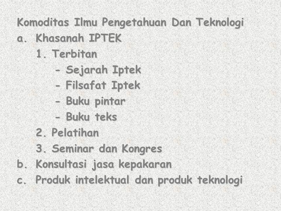 Komoditas Ilmu Pengetahuan Dan Teknologi a.Khasanah IPTEK 1. Terbitan - Sejarah Iptek - Sejarah Iptek - Filsafat Iptek - Filsafat Iptek - Buku pintar