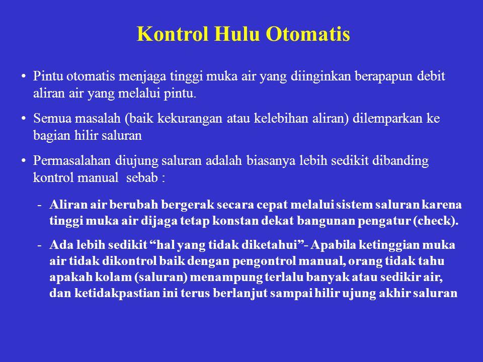 Kontrol Hulu Otomatis •Pintu otomatis menjaga tinggi muka air yang diinginkan berapapun debit aliran air yang melalui pintu. •Semua masalah (baik keku