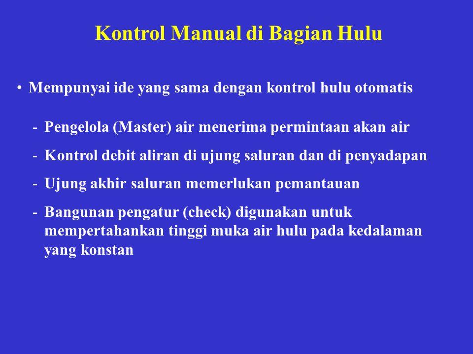 Kontrol Manual di Bagian Hulu •Mempunyai ide yang sama dengan kontrol hulu otomatis -Pengelola (Master) air menerima permintaan akan air -Kontrol debi