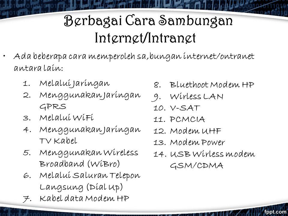 Berbagai Cara Sambungan Internet/Intranet •Ada beberapa cara memperoleh sa,bungan internet/ontranet antara lain: 8.Bluethoot Modem HP 9.Wirless LAN 10