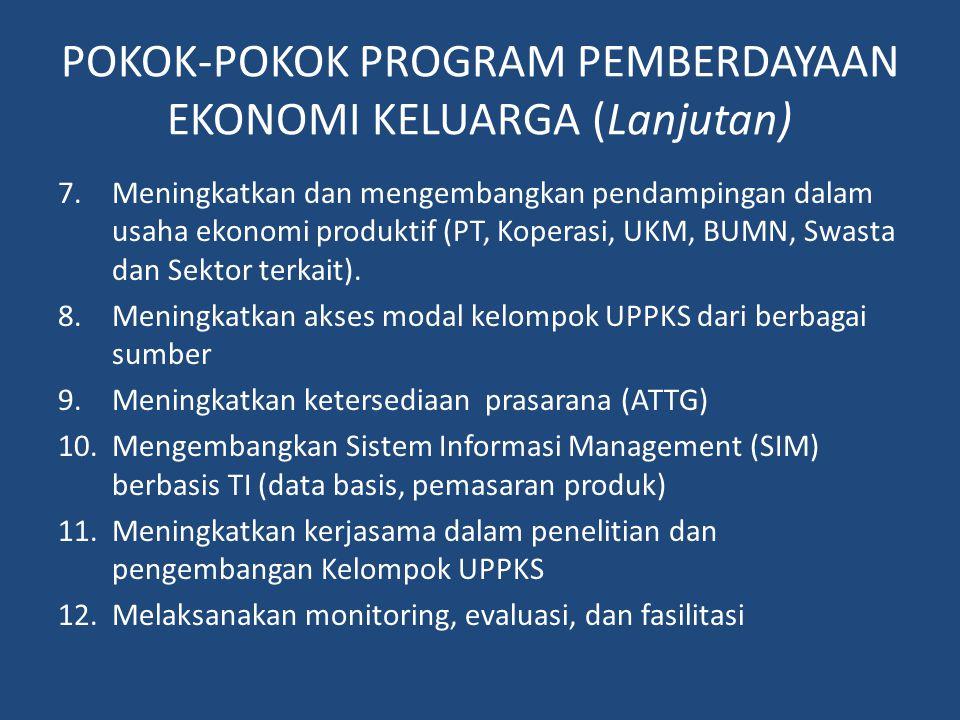 POKOK-POKOK PROGRAM PEMBERDAYAAN EKONOMI KELUARGA (Lanjutan) 7.Meningkatkan dan mengembangkan pendampingan dalam usaha ekonomi produktif (PT, Koperasi