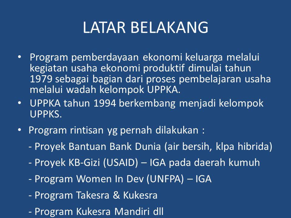 LATAR BELAKANG • Program pemberdayaan ekonomi keluarga melalui kegiatan usaha ekonomi produktif dimulai tahun 1979 sebagai bagian dari proses pembelaj