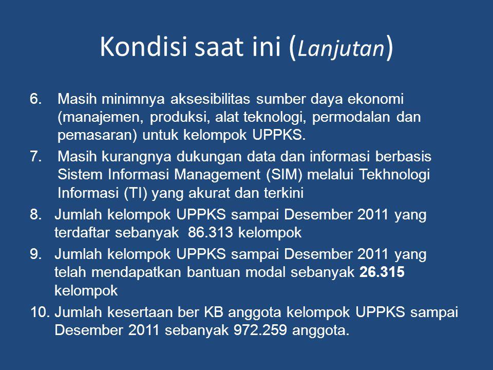 Kondisi saat ini ( Lanjutan ) 6.Masih minimnya aksesibilitas sumber daya ekonomi (manajemen, produksi, alat teknologi, permodalan dan pemasaran) untuk