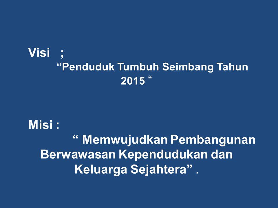 """Visi ; """"Penduduk Tumbuh Seimbang Tahun 2015 """" Misi : """" Memwujudkan Pembangunan Berwawasan Kependudukan dan Keluarga Sejahtera""""."""