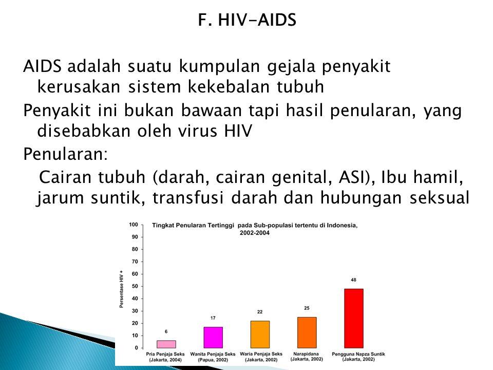 F. HIV-AIDS AIDS adalah suatu kumpulan gejala penyakit kerusakan sistem kekebalan tubuh Penyakit ini bukan bawaan tapi hasil penularan, yang disebabka