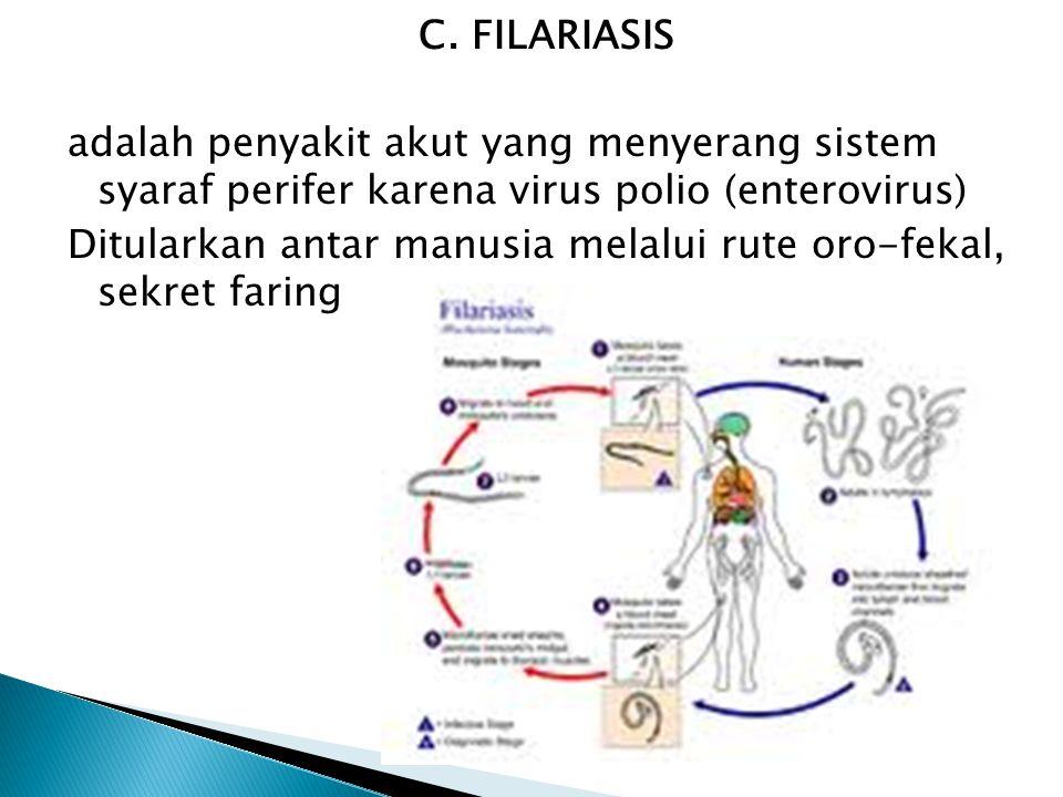 C. FILARIASIS adalah penyakit akut yang menyerang sistem syaraf perifer karena virus polio (enterovirus) Ditularkan antar manusia melalui rute oro-fek