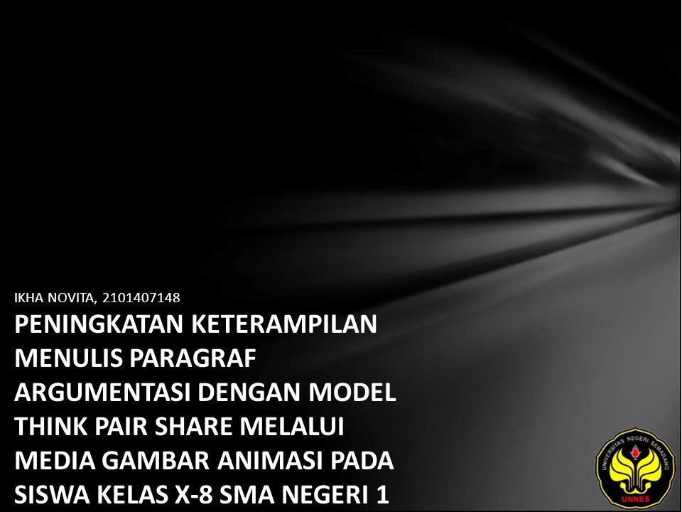 Identitas Mahasiswa - NAMA : IKHA NOVITA - NIM : 2101407148 - PRODI : Pendidikan Bahasa, Sastra Indonesia, dan Daerah (Pendidikan Bahasa dan Sastra Indonesia) - JURUSAN : Bahasa & Sastra Indonesia - FAKULTAS : Bahasa dan Seni - EMAIL : ikanopeq pada domain yahoo.co.id - PEMBIMBING 1 : Drs.Wagiran,M.Hum.