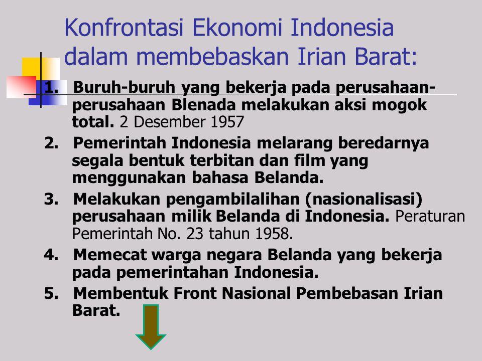 Konfrontasi Politik Indonesia dalam membebaskan Irian Barat: 1. Pembatalan Perjanjian Konferensi Meja Bundar 3 Mei 1956 Indonesia membatalkan hubungan