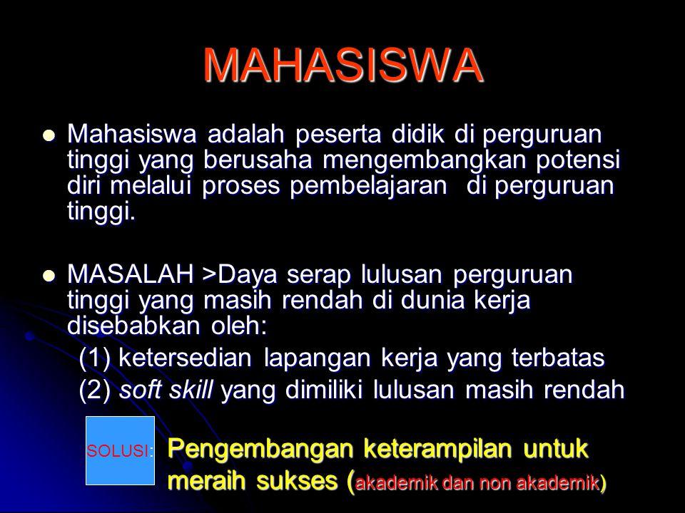 MAHASISWA  Mahasiswa adalah peserta didik di perguruan tinggi yang berusaha mengembangkan potensi diri melalui proses pembelajaran di perguruan tingg
