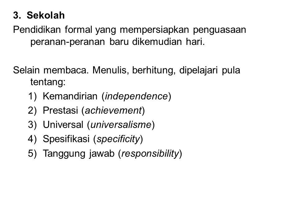 3.Sekolah Pendidikan formal yang mempersiapkan penguasaan peranan-peranan baru dikemudian hari.