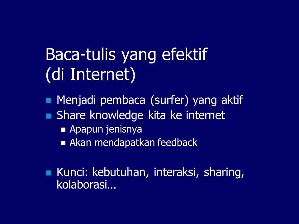Interaksi Individu  Internet Internet Tulis, sebar Baca, feedback Individu Multiplikasi
