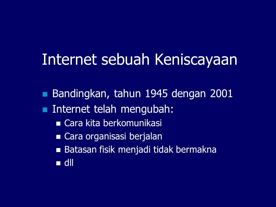 Internet sebuah Keniscayaan  Bandingkan, tahun 1945 dengan 2001  Internet telah mengubah:  Cara kita berkomunikasi  Cara organisasi berjalan  Batasan fisik menjadi tidak bermakna  dll