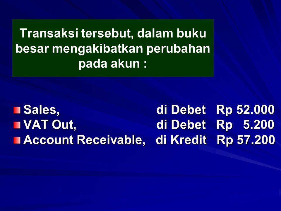Transaksi tersebut, dalam buku besar mengakibatkan perubahan pada akun : Sales, di Debet Rp 52.000 VAT Out, di Debet Rp 5.200 Account Receivable, di K