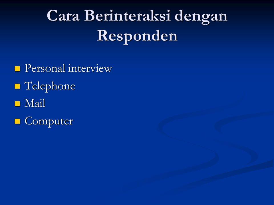 Cara Berinteraksi dengan Responden  Personal interview  Telephone  Mail  Computer