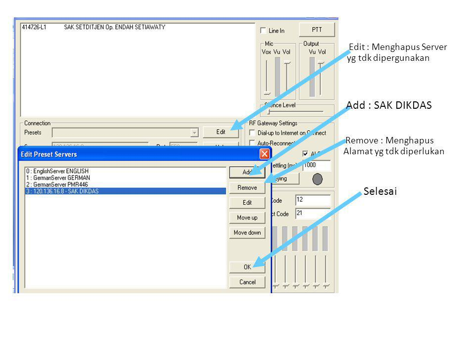 Edit : Menghapus Server yg tdk dipergunakan Add : SAK DIKDAS Remove : Menghapus Alamat yg tdk diperlukan Selesai