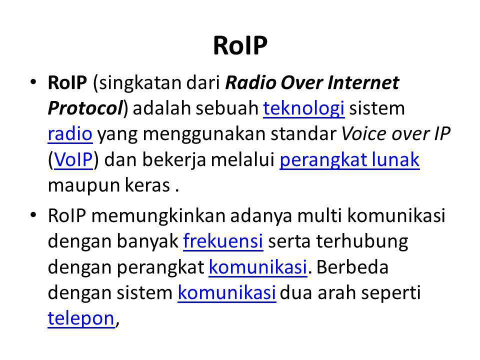 RoIP • RoIP (singkatan dari Radio Over Internet Protocol) adalah sebuah teknologi sistem radio yang menggunakan standar Voice over IP (VoIP) dan beker
