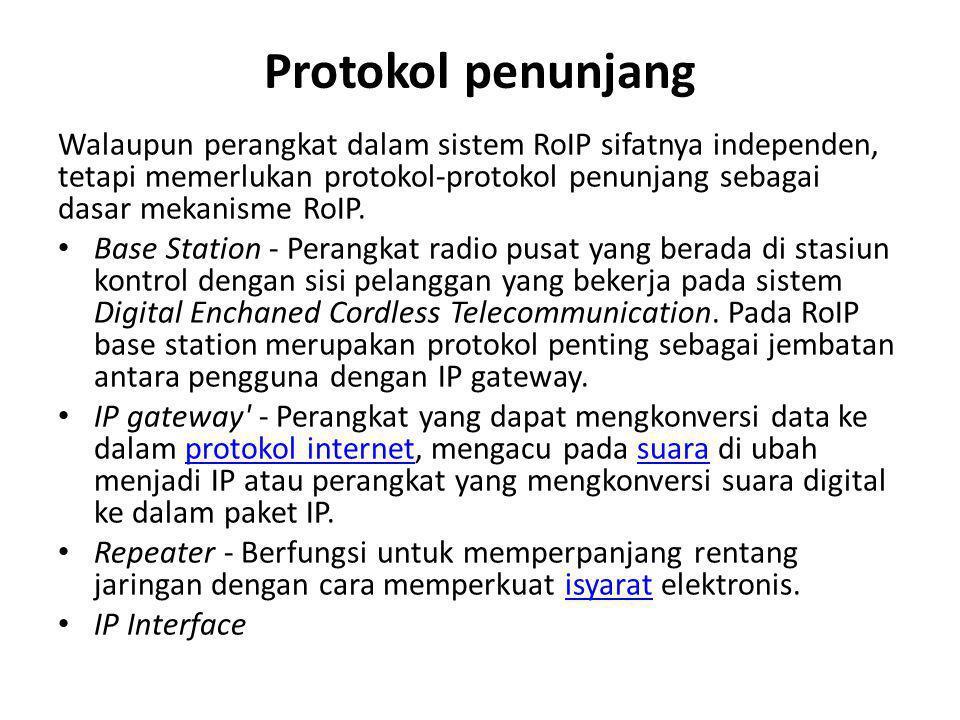 Protokol penunjang Walaupun perangkat dalam sistem RoIP sifatnya independen, tetapi memerlukan protokol-protokol penunjang sebagai dasar mekanisme RoI