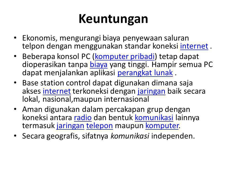 Keuntungan • Ekonomis, mengurangi biaya penyewaan saluran telpon dengan menggunakan standar koneksi internet.internet • Beberapa konsol PC (komputer p