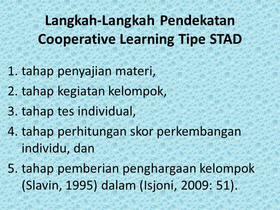 Langkah-Langkah Pendekatan Cooperative Learning Tipe STAD 1. tahap penyajian materi, 2. tahap kegiatan kelompok, 3. tahap tes individual, 4. tahap per