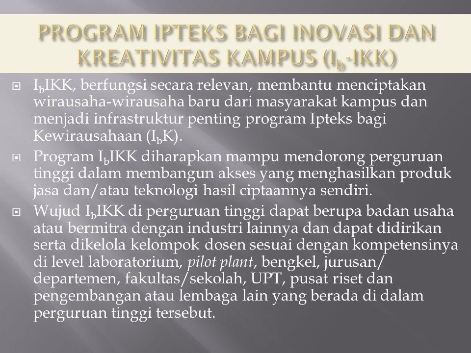  I b IKK, berfungsi secara relevan, membantu menciptakan wirausaha-wirausaha baru dari masyarakat kampus dan menjadi infrastruktur penting program Ipteks bagi Kewirausahaan (I b K).