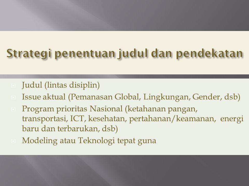  Judul (lintas disiplin)  Issue aktual (Pemanasan Global, Lingkungan, Gender, dsb)  Program prioritas Nasional (ketahanan pangan, transportasi, ICT, kesehatan, pertahanan/keamanan, energi baru dan terbarukan, dsb)  Modeling atau Teknologi tepat guna