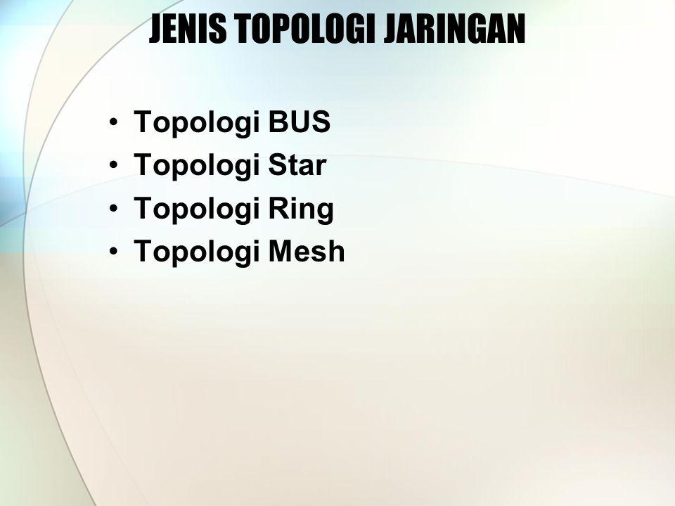 •Topologi BUS •Topologi Star •Topologi Ring •Topologi Mesh JENIS TOPOLOGI JARINGAN
