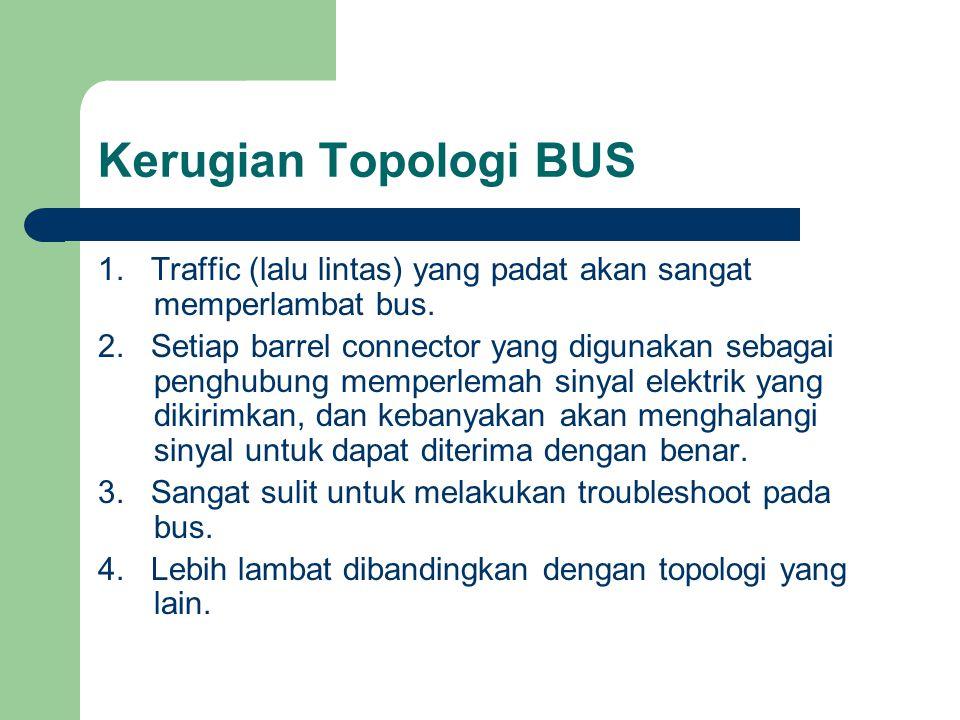 Kerugian Topologi BUS 1. Traffic (lalu lintas) yang padat akan sangat memperlambat bus. 2. Setiap barrel connector yang digunakan sebagai penghubung m