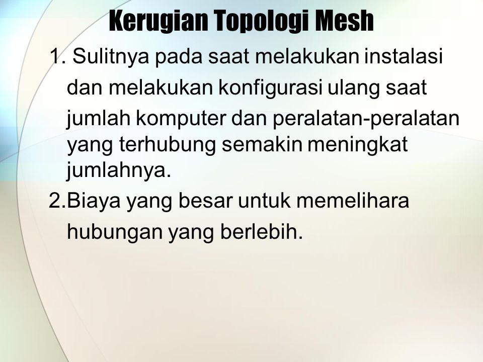 Kerugian Topologi Mesh 1. Sulitnya pada saat melakukan instalasi dan melakukan konfigurasi ulang saat jumlah komputer dan peralatan-peralatan yang ter