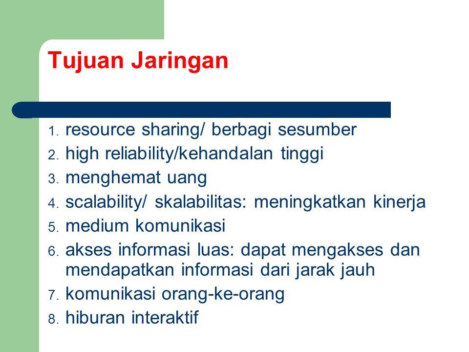 1.resource sharing/ berbagi sesumber 2. high reliability/kehandalan tinggi 3.